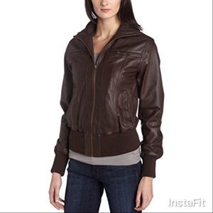 EMU BUTTERY LEATHER JACKET IN BROWN